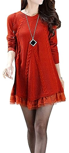 MuMujia Women's Casual Knitted Sweater Dress Round Neck Lace Pullover Autumn Winter Clothes Tops