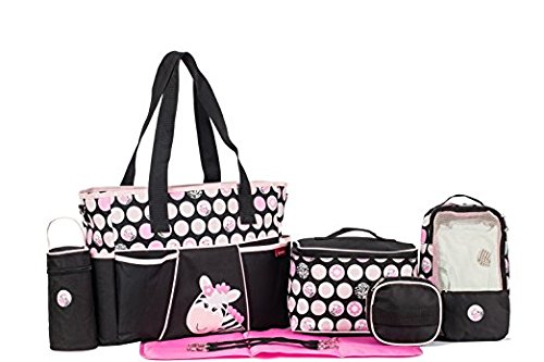 SoHo Diaper bag Pink zebra 9 pieces set nappy tote bag (Zebra Print Theme) Great Choice for Baby Shower Gifts Best Buy