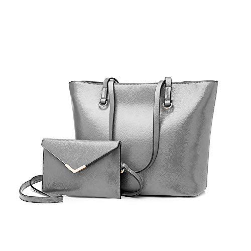 Pu Borsetta Mano Moda Bagtech Borsa A Donna Grigio Con Shopping Pelle Set Tote 0xxRqYwv