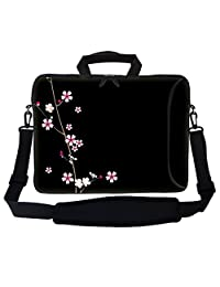 "Meffort Inc 17 17.3 inch Neoprene Laptop Bag Sleeve with Extra Side Pocket, Soft Carrying Handle & Removable Shoulder Strap for 16"" to 17.3"" Size Notebook Computer - Plum Blossoms Design"