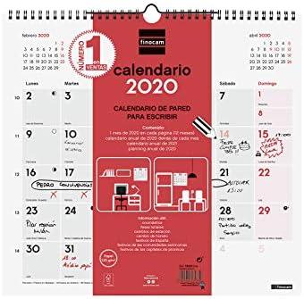 Finocam Escribir, Calendario de Pared 2020, L - 340 x 320 mm: Amazon.es: Oficina y papelería