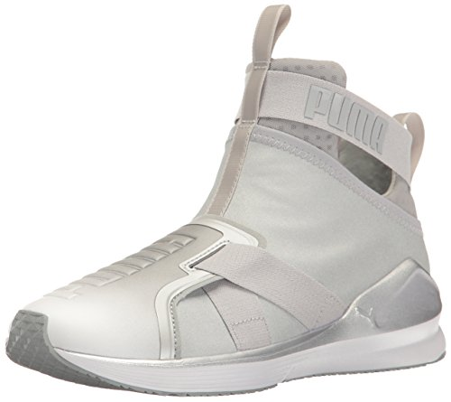 (PUMA Women's Fierce Strap Metallic WN's Cross-Trainer Shoe, Silver White, 6.5 M US)