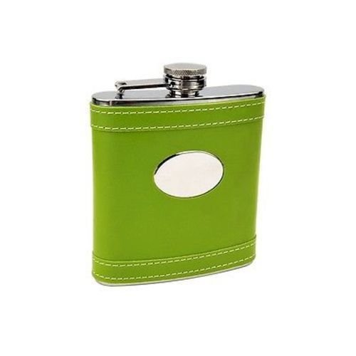 Lime Green High Quality NEW Stainless Steel 6oz Hip Flask Biker Liquor HIP-0027