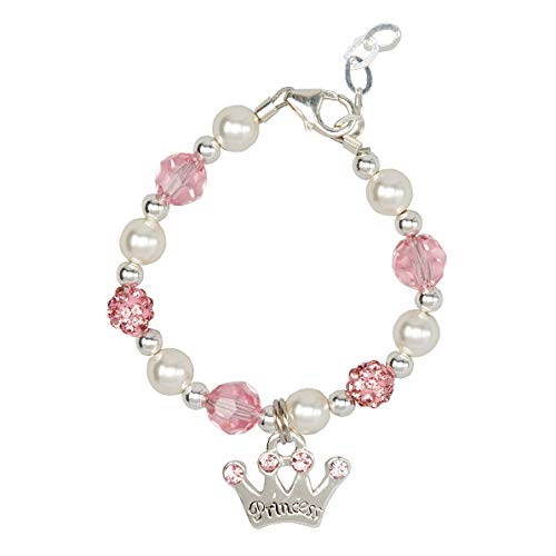 Luxury White Simulated Pearls Pink Pave Beads and Crystals with Sterling Silver Princess Crown Charm Toddler Girl Bracelet (B139_M+)