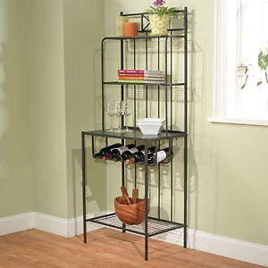 Target Marketing Systems Valencia Baker's Rack with 4 Shelves and a Wine Rack, Black