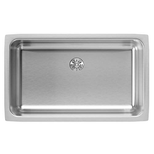 Elkay Lustertone ELUH2816PD Single Bowl Undermount Stainless Steel Kitchen Sink with Perfect Drain - Lustertone Rectangular Undermount Sink