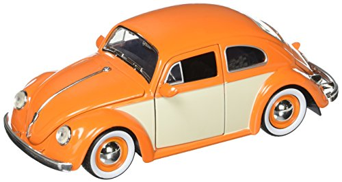 Kustom Metal - JADA 1:24 W/B Metals Bigtime Kustoms 1959 Volkswagen Beetle 2-Tone with Baby Moon Wheels Orange Die Cast Car