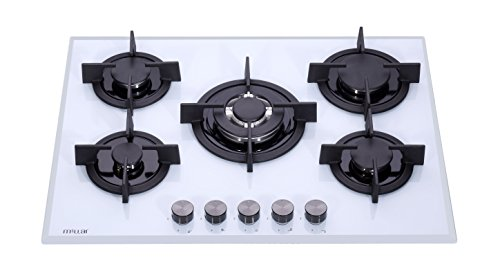 Millar Gh7051pw Tempered Glass Hob With 5 Gas Burners 70 Cm
