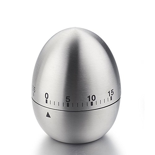 iStwahl Mechanische Eieruhr - Eiförmige Edelstahl Kurzzeitmesser mit Stoppuhr (Ø x H) 61 mm x 77 mm Küchenhelfer Kurzzeitwecker