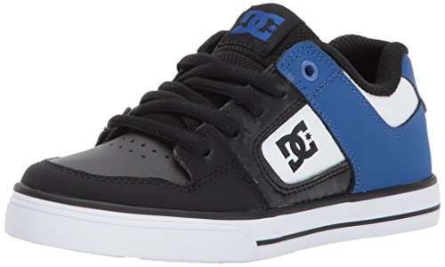 DC Boys' Youth Pure Skate Shoe, Black/Blue/White, 3 M US Little Kid