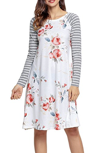 HOTAPEI Women's Casual Long Sleeve A-line Loose T-shirt Dresses Floral Shift Dress Ivory X-Large