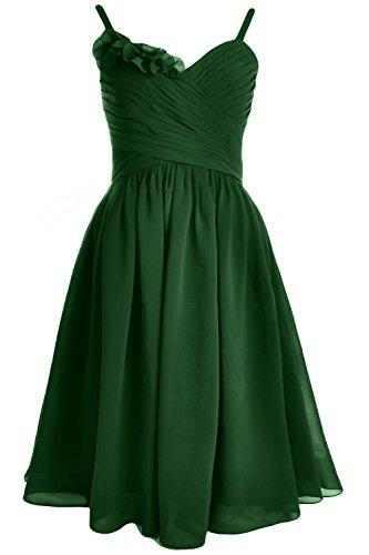 MACloth Women Straps Chiffon Short Bridesmaid Dress Wedding Party Formal Gown (26w, Dark Green)