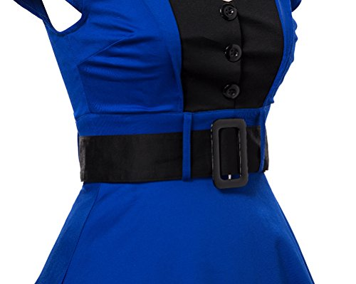 LaoZan Vestido de noche Estilo Hepburn Vestido de coctail Con cinturón Manga corta Vintage de mujer Azul