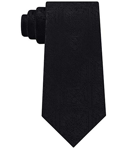 (Calvin Klein Mens Shimmer Silk Diamond Neck Tie Black O/S)