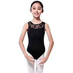 Girls Sleeveless Lace Ballet Dancewear Leotard Gymnastics Costumes 41PCaX ckfL