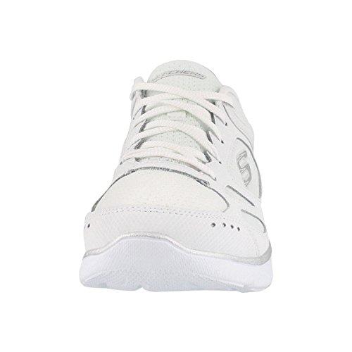 Summits Sneaker Lace WHT Women's Slvr US Skechers 8 Suited W up Wide t56XZqw