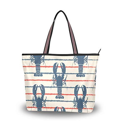 Women's Tote Shoulder Bag Retro Marine Lobster Hobo Top Handle Bags Shopper Carolie Handbag
