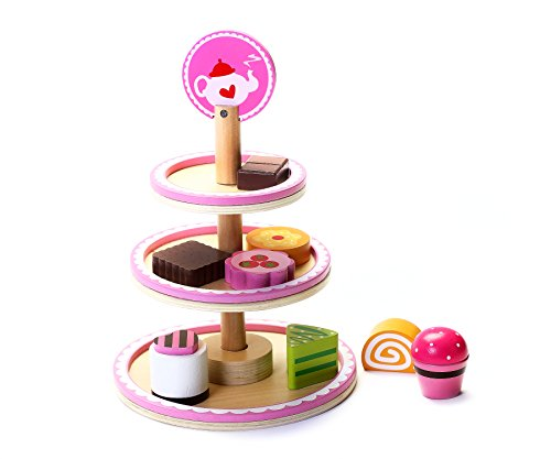 Cute Wooden Afternoon Tea Play Food Dessert Stand Toy for Girls & Boys, Preschool Age Toddlers to Serve Pastries & Treats During Play Tea Parties. Hours of Fun!