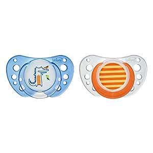 Chicco Physio Air - Pack de 2 chupetes de látex/caucho para 6-16 meses, color azul