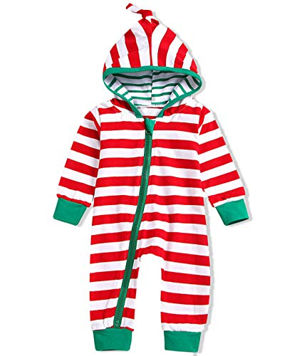 Unisex Baby Boy Girls Christmas Outfit Family Pajamas Long Sleeve Striped Zipper Hooded Romper Jumpsuit Infant Clothes (Red + White, 18-24 Months)]()