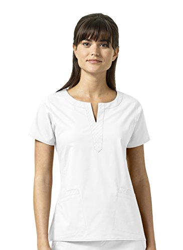Signature Collection By Vera Bradley Women's Linda Notch Neck Solid Scrub Top White (Signature Collection Womens)
