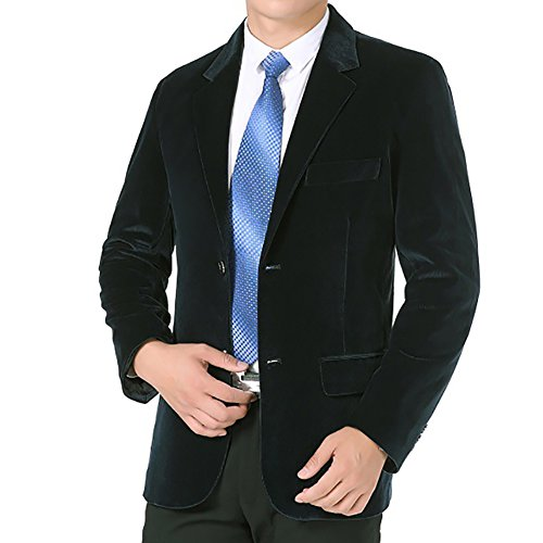 Green Corduroy Blazer - SITENG Men's Solid Slim Fit Velvet Blazer Jacket Two Button Corduroy Coat Single Breasted Stylish Casual Business Dinner Suit (US XXL(Chest 48