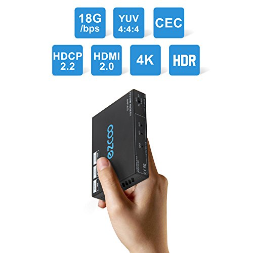 EZCOO 1x2 HDMI Splitter 4K 60Hz 4:4:4 18G HDR Dolby Vision,Audio Breakout SPDIF Optical 5.1CH,HDMI Scaler 4K &1080P work Together,Firmware Upgrade,HDCP 2.2 Dual HDMI2.0 Splitter 1 in 2 out,CEC,Cascade