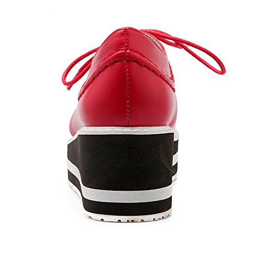 Filles De Balamasa Couleur De Fil Correspondant Épais Talon Bas Bandage Imité En Cuir Pompes-chaussures Rouge