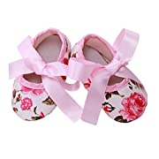 DEESEE(TM)Baby Toddler Girls Princess roses Prewalker Soft Sole Anti-Slip lace-up Shoes (11)