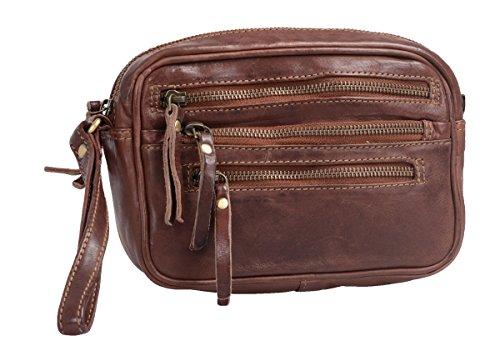 Bolso de mano de hombre AVANCO, de cuero, 21x13x6cm Marrón
