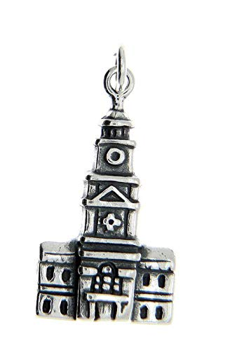 Sterling Silver Independence Hall Philadelphia Charm Pendant Vintage Crafting Pendant Jewelry Making Supplies - DIY for Necklace Bracelet Accessories by CharmingSS