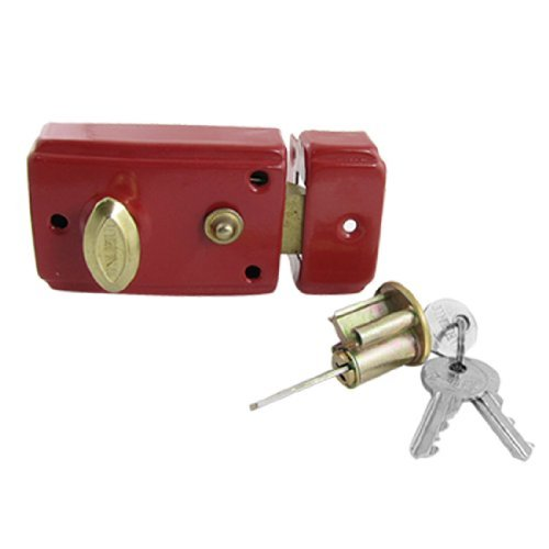 DealMux Dormitory Door Red Single Bolt Latch Lock w 3 Keys Set