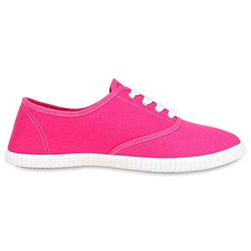 best-boots Damen Ballerinas Sneaker Schnürer Slipper Halbschuhe sportlich Pink Rosa Nuovo