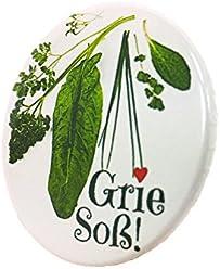 Grie Soß Button Druck 3,8cm Grüne Soße Hessen Anstecker Deko