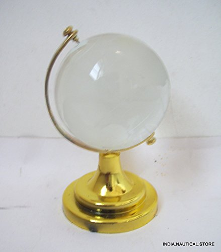 New Clear Glass Frosted World Globe Paperweight With Golden Stand Home Decor1
