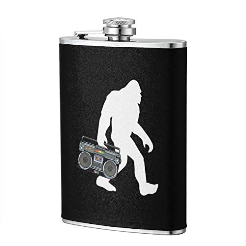Bigfoot Boom Box Beatbox 8 OZ STAINLESS STEEL LEAK-PROOF WEARPROOF HIP FLASK For WHISKEY With LEATHER WRAP TRAVEL CAMPING WINE POT FLAGON (Beatbox Drink Wine)