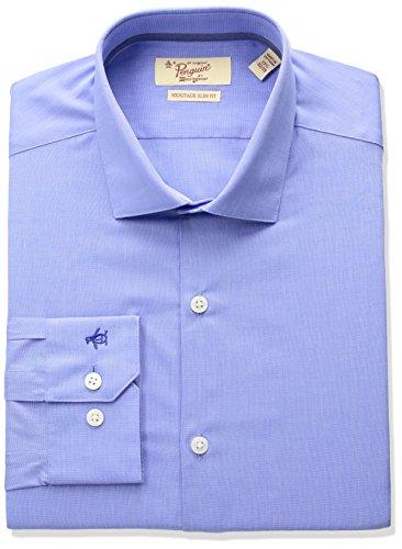 Original Penguin Camisa de Vestir con Cuello Abierto, Ajustada, Esencial para Hombre, Azul sólido, 16.5 34/35