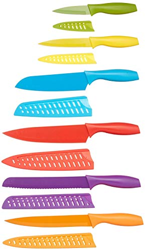(AmazonBasics 12-Piece Colored Kitchen Knife Set - 0183-12PACK)