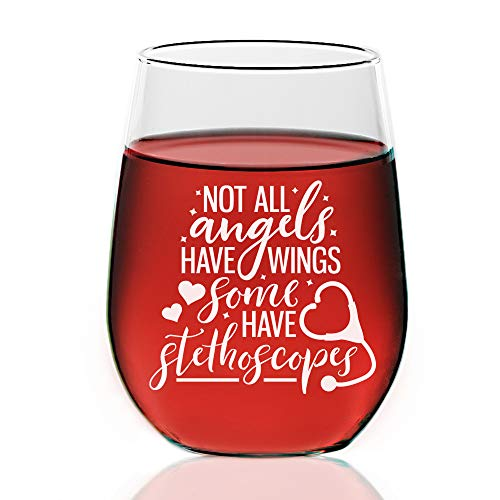 4 PC SET - Not all Angels Have Wings Some Have Stethoscopes, Nurse Design Custom Stemless Wine glass 21 ounce, Mothers Day Gift, Wine Glass Christmas Gift, Best Friends Gift, Sisters Gifts. ()