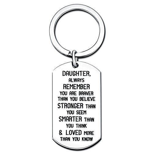 Daughter Always Remember You are Braver Strong Smarter Than You Think Key Chain Ring Stainless Steel (Daughter)