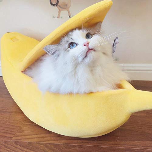 Longay Small Pet Bed Banana Shape Fluffy Warm Soft Plush Breathable Bed Banana Cat Bed ()