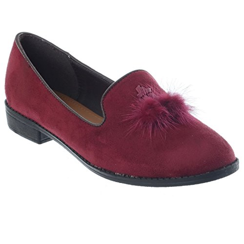 NEW LADIES WOMENS GIRLS SLIP ON DOLLY BALLET PUMPS FUR TASSEL CASUAL FLAT LOW HEEL SHOES SIZE Maroon Faux Suede