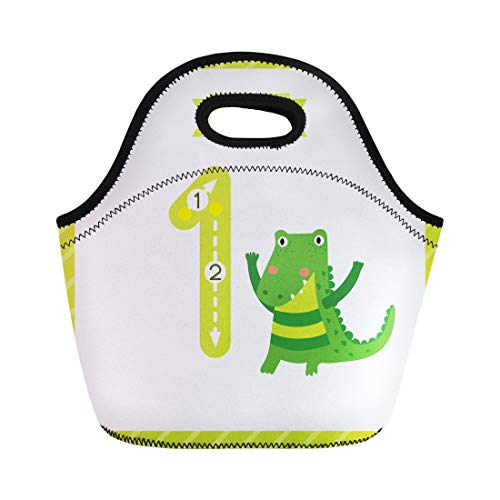 Semtomn Lunch Tote Bag Cute Children Flashcard Number One Tracing Alligator Learning Reusable Neoprene Insulated Thermal Outdoor Picnic Lunchbox for Men Women