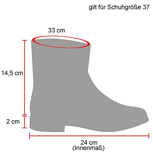 Stiefelparadies Damen Schuhe Schlupfstiefel Boots Warm Gefüttert Flandell Schwarz Bommel