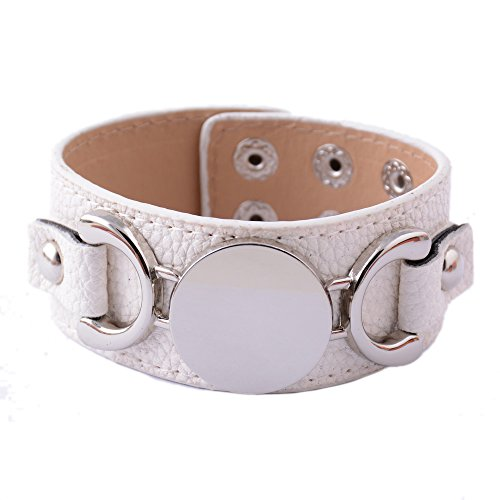 Rainbery PU Leather Cuff Bracelet Blank Monogram Jewelry Cuff Women Leather Bracelet (White Silver)