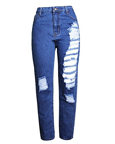 Trou Denim Leggings Pantalons Femme Skinny Slim Jean Darkbleu Elastique qUnPX