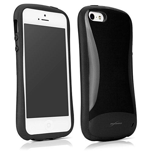 iPhone 5cas, BoxWave® [Curvefit Coque en TPU brillant] ergonomique W/antidérapant poignées latérales pour Apple iPhone 5/5S/, se,–jet noir