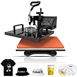 Nurxiovo 6 in 1 Heat Press Machine Swing Away Digital Sublimation Heat Pressing Transfer Machine for T-Shirt/Mug/Hat Plate/Cap 12x15