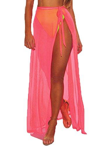Bulawoo Women's Pareo Beach Wrap Sexy Sheer Cover up Swimsuit Beach Sarongs Slit Maxi Skirt Summer Beach Dress One Size (Sarong Skirt Dress)