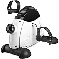 LONENESSL Portable Mini Exercise Bike for Leg and Arm, Under Desk Exercise Bikes with Adjustable Resistance Knob and LED...